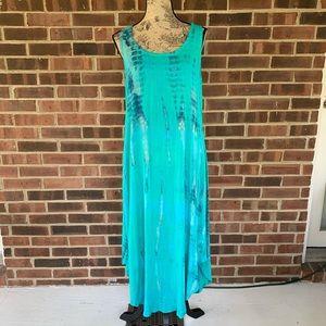 Soft Surroundings tie dye sleeveless maxi dress